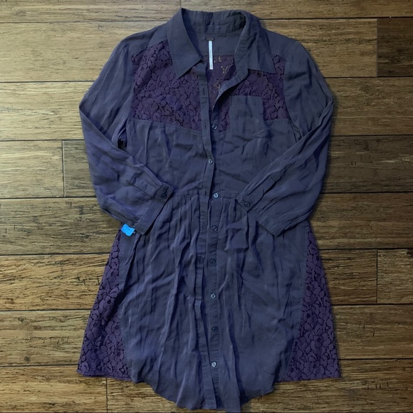 Free People Dresses & Skirts - Free People - Dark Purple Pocket Dress with Lace